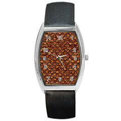 Scales2 Black Marble & Copper Foil (r) Barrel Style Metal Watch by trendistuff