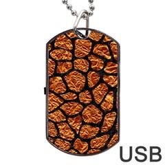 Skin1 Black Marble & Copper Foil Dog Tag Usb Flash (one Side) by trendistuff