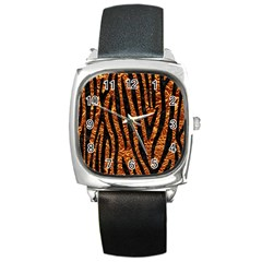 Skin4 Black Marble & Copper Foil Square Metal Watch by trendistuff