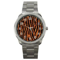 Skin4 Black Marble & Copper Foil Sport Metal Watch by trendistuff