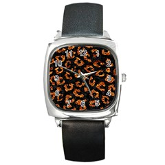 Skin5 Black Marble & Copper Foil (r) Square Metal Watch by trendistuff