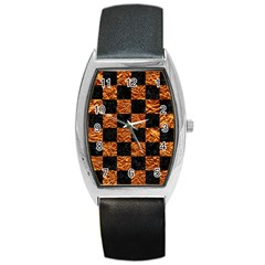 Square1 Black Marble & Copper Foil Barrel Style Metal Watch by trendistuff