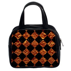 Square2 Black Marble & Copper Foilsquare2 Black Marble & Copper Foil Classic Handbags (2 Sides) by trendistuff