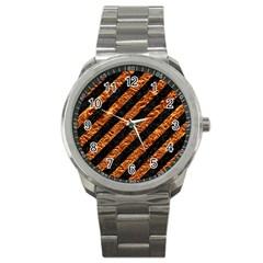 Stripes3 Black Marble & Copper Foil Sport Metal Watch by trendistuff