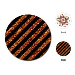 Stripes3 Black Marble & Copper Foil Playing Cards (round)  by trendistuff