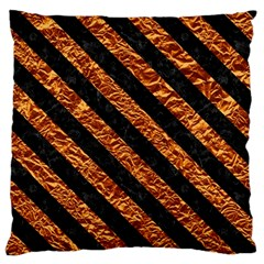 Stripes3 Black Marble & Copper Foil (r) Standard Flano Cushion Case (one Side) by trendistuff