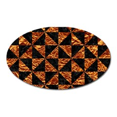 Triangle1 Black Marble & Copper Foil Oval Magnet by trendistuff