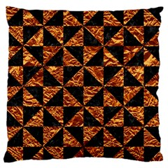 Triangle1 Black Marble & Copper Foil Large Flano Cushion Case (one Side) by trendistuff