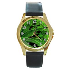 Vivid Tropical Design Round Gold Metal Watch by dflcprints