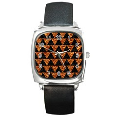 Triangle2 Black Marble & Copper Foil Square Metal Watch by trendistuff