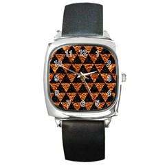 Triangle3 Black Marble & Copper Foil Square Metal Watch by trendistuff