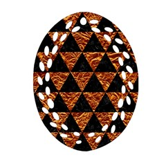 Triangle3 Black Marble & Copper Foil Oval Filigree Ornament (two Sides) by trendistuff