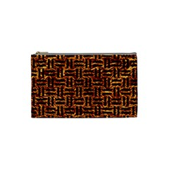 Woven1 Black Marble & Copper Foil (r) Cosmetic Bag (small)  by trendistuff