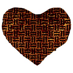Woven1 Black Marble & Copper Foil (r) Large 19  Premium Flano Heart Shape Cushions by trendistuff
