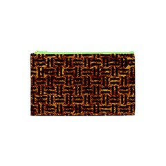 Woven1 Black Marble & Copper Foil (r) Cosmetic Bag (xs) by trendistuff