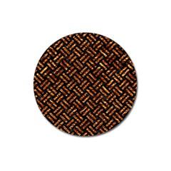 Woven2 Black Marble & Copper Foil Magnet 3  (round) by trendistuff