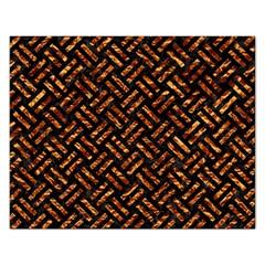 Woven2 Black Marble & Copper Foil Rectangular Jigsaw Puzzl by trendistuff