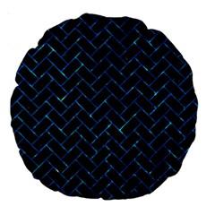Brick2 Black Marble & Deep Blue Water Large 18  Premium Round Cushions by trendistuff