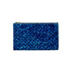 Brick2 Black Marble & Deep Blue Water (r) Cosmetic Bag (small)  by trendistuff