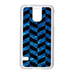 Chevron1 Black Marble & Deep Blue Water Samsung Galaxy S5 Case (white) by trendistuff