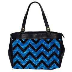 Chevron9 Black Marble & Deep Blue Water (r) Office Handbags (2 Sides)  by trendistuff