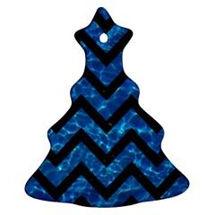 Chevron9 Black Marble & Deep Blue Water (r) Christmas Tree Ornament (two Sides) by trendistuff