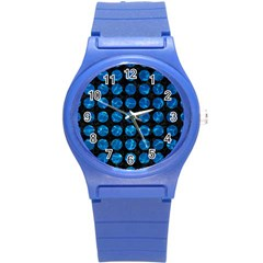 Circles1 Black Marble & Deep Blue Water Round Plastic Sport Watch (s) by trendistuff