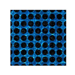 Circles1 Black Marble & Deep Blue Water (r) Small Satin Scarf (square) by trendistuff