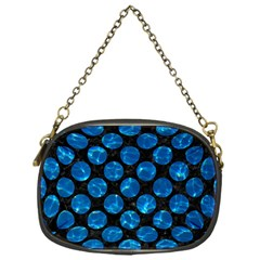 Circles2 Black Marble & Deep Blue Water Chain Purses (one Side)  by trendistuff
