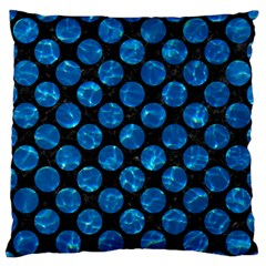 Circles2 Black Marble & Deep Blue Water Large Flano Cushion Case (one Side) by trendistuff