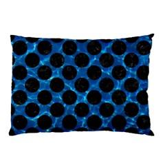Circles2 Black Marble & Deep Blue Water (r) Pillow Case by trendistuff
