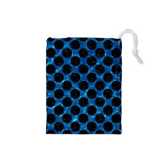 Circles2 Black Marble & Deep Blue Water (r) Drawstring Pouches (small)  by trendistuff