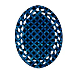 Circles3 Black Marble & Deep Blue Water Oval Filigree Ornament (two Sides) by trendistuff