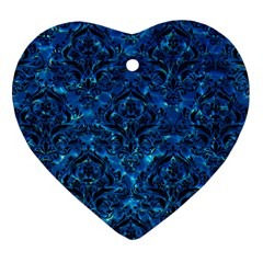 Damask1 Black Marble & Deep Blue Water (r) Heart Ornament (two Sides) by trendistuff