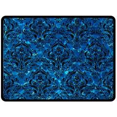 Damask1 Black Marble & Deep Blue Water (r) Fleece Blanket (large)  by trendistuff