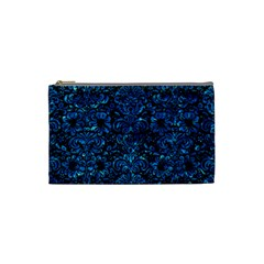 Damask2 Black Marble & Deep Blue Water Cosmetic Bag (small)  by trendistuff