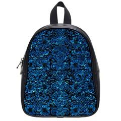 Damask2 Black Marble & Deep Blue Water School Bag (small) by trendistuff