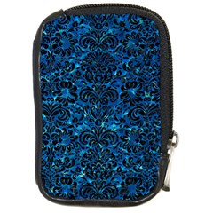 Damask2 Black Marble & Deep Blue Water (r) Compact Camera Cases by trendistuff