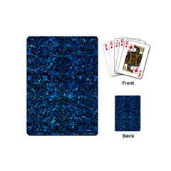 Damask2 Black Marble & Deep Blue Water (r) Playing Cards (mini)  by trendistuff