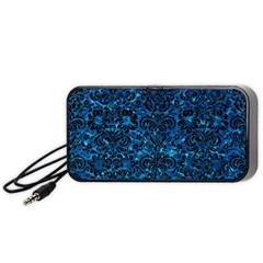Damask2 Black Marble & Deep Blue Water (r) Portable Speaker (black) by trendistuff