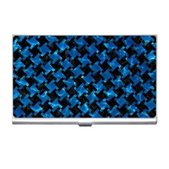Houndstooth2 Black Marble & Deep Blue Water Business Card Holders by trendistuff