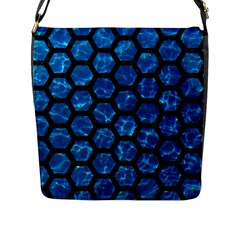 Hexagon2 Black Marble & Deep Blue Water (r) Flap Messenger Bag (l)  by trendistuff