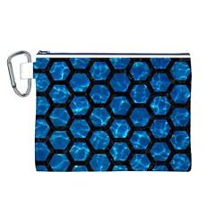 Hexagon2 Black Marble & Deep Blue Water (r) Canvas Cosmetic Bag (l) by trendistuff