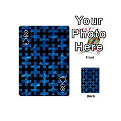 Puzzle1 Black Marble & Deep Blue Water Playing Cards 54 (mini)  by trendistuff