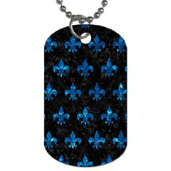 Royal1 Black Marble & Deep Blue Water (r) Dog Tag (two Sides) by trendistuff