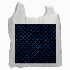 Scales1 Black Marble & Deep Blue Water Recycle Bag (two Side)  by trendistuff