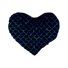 Scales1 Black Marble & Deep Blue Water Standard 16  Premium Flano Heart Shape Cushions by trendistuff