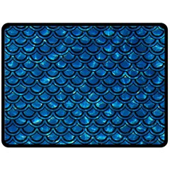 Scales2 Black Marble & Deep Blue Water (r) Fleece Blanket (large)  by trendistuff