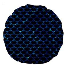 Scales3 Black Marble & Deep Blue Water Large 18  Premium Round Cushions by trendistuff