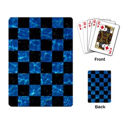 Square1 Black Marble & Deep Blue Water Playing Card by trendistuff
